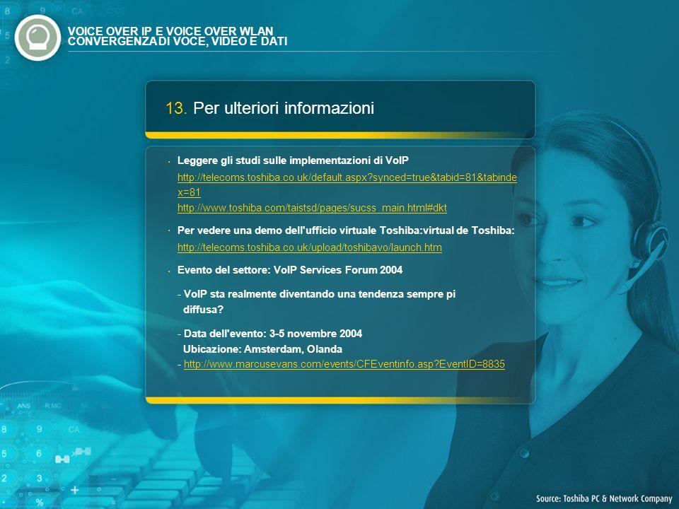 13. Per ulteriori informazioni Leggere gli studi sulle implementazioni di VoIP http://telecoms.toshiba.co.uk/default.aspx?synced=true&tabid=81&tabinde