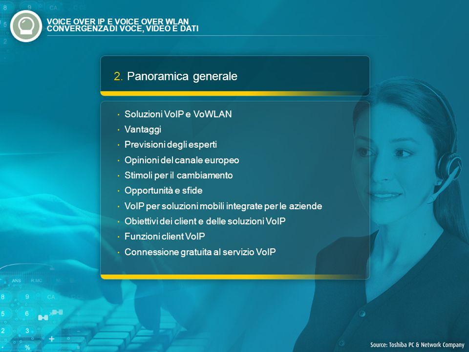 2. Panoramica generale Soluzioni VoIP e VoWLAN Vantaggi Previsioni degli esperti Opinioni del canale europeo Stimoli per il cambiamento Opportunità e