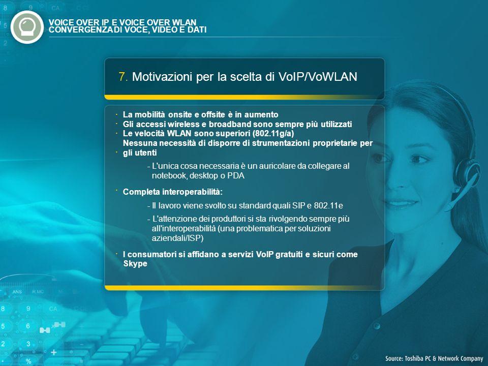 7. Motivazioni per la scelta di VoIP/VoWLAN La mobilità onsite e offsite è in aumento Gli accessi wireless e broadband sono sempre più utilizzati Le v