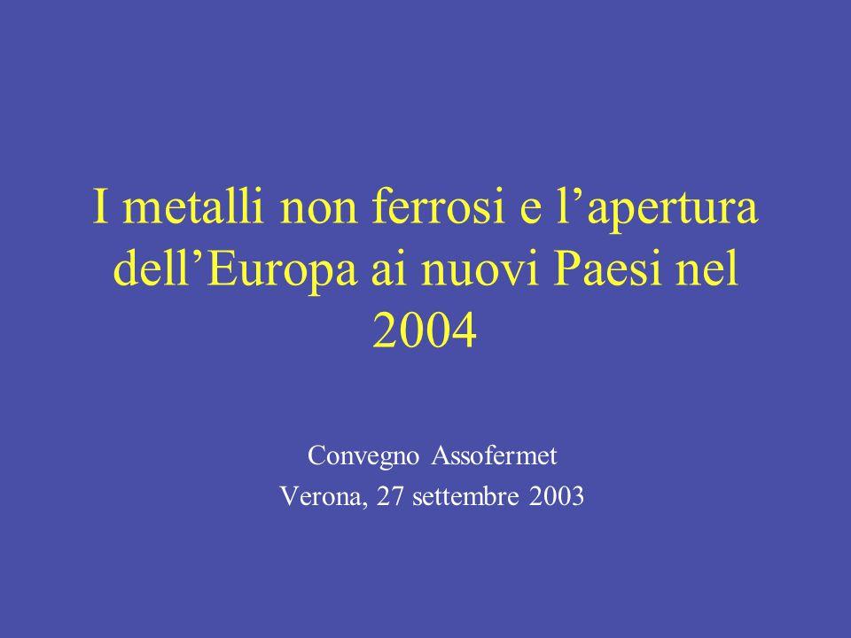 I metalli non ferrosi e lapertura dellEuropa ai nuovi Paesi nel 2004 Convegno Assofermet Verona, 27 settembre 2003