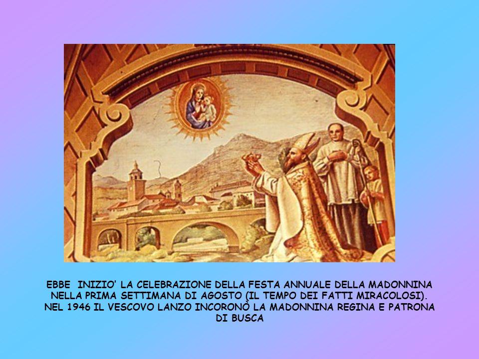 Il 14 LUGLIO 1765 lICONA DELLA MADONNINA VIENE COLLOCATA NEL PICCOLO SANTUARIO, ERETTO DA BERNARDINO PICCHETTI NELLA CHIESA DELLA SS.TRINITA, DOVE SI TROVA OGGI ANCORA.