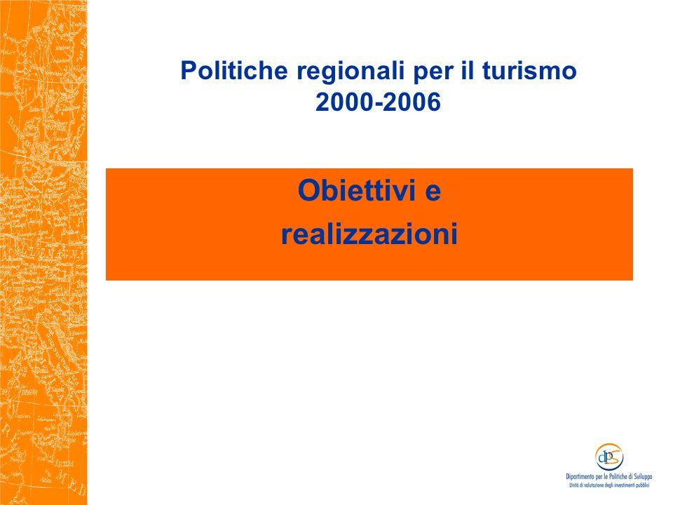 Politiche regionali per il turismo 2000-2006 Obiettivi e realizzazioni