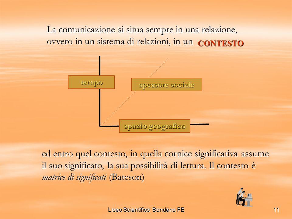 Liceo Scientifico Bondeno FE11 CONTESTO La comunicazione si situa sempre in una relazione, ovvero in un sistema di relazioni, in un tempo spazio geogr