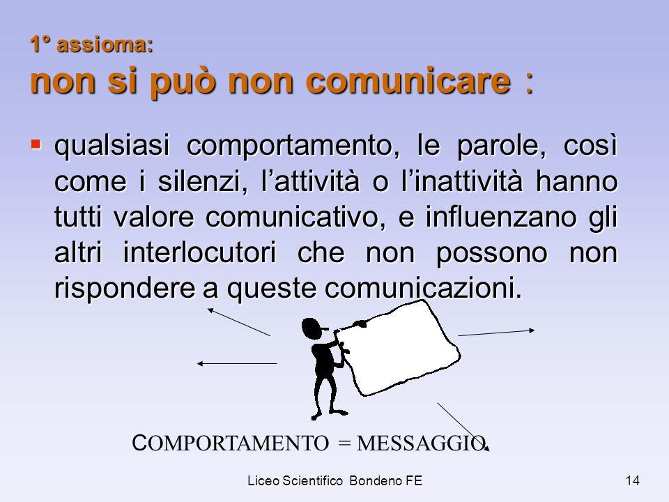 Liceo Scientifico Bondeno FE14 1° assioma: non si può non comunicare : qualsiasi comportamento, le parole, così come i silenzi, lattività o linattivit