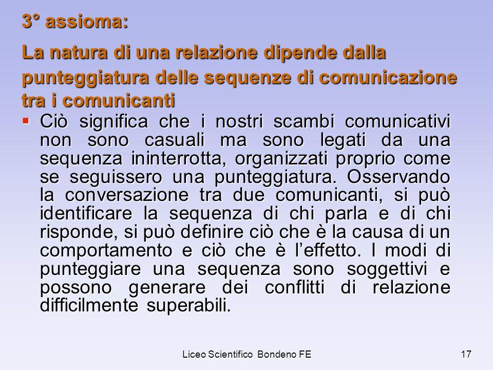 Liceo Scientifico Bondeno FE17 3° assioma: La natura di una relazione dipende dalla punteggiatura delle sequenze di comunicazione tra i comunicanti Ci