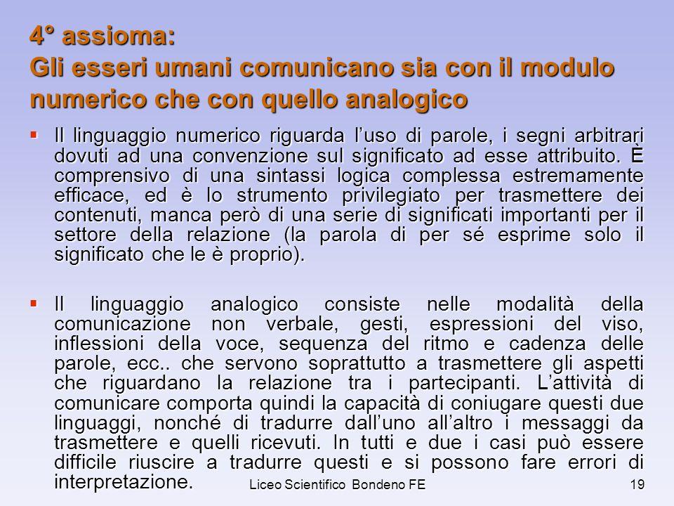 Liceo Scientifico Bondeno FE19 4° assioma: Gli esseri umani comunicano sia con il modulo numerico che con quello analogico Il linguaggio numerico rigu