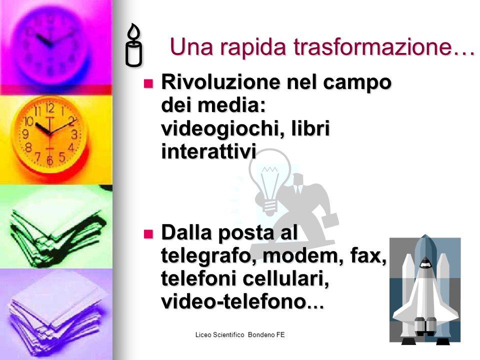 Liceo Scientifico Bondeno FE28 Una rapida trasformazione… Rivoluzione nel campo dei media: videogiochi, libri interattivi Rivoluzione nel campo dei me