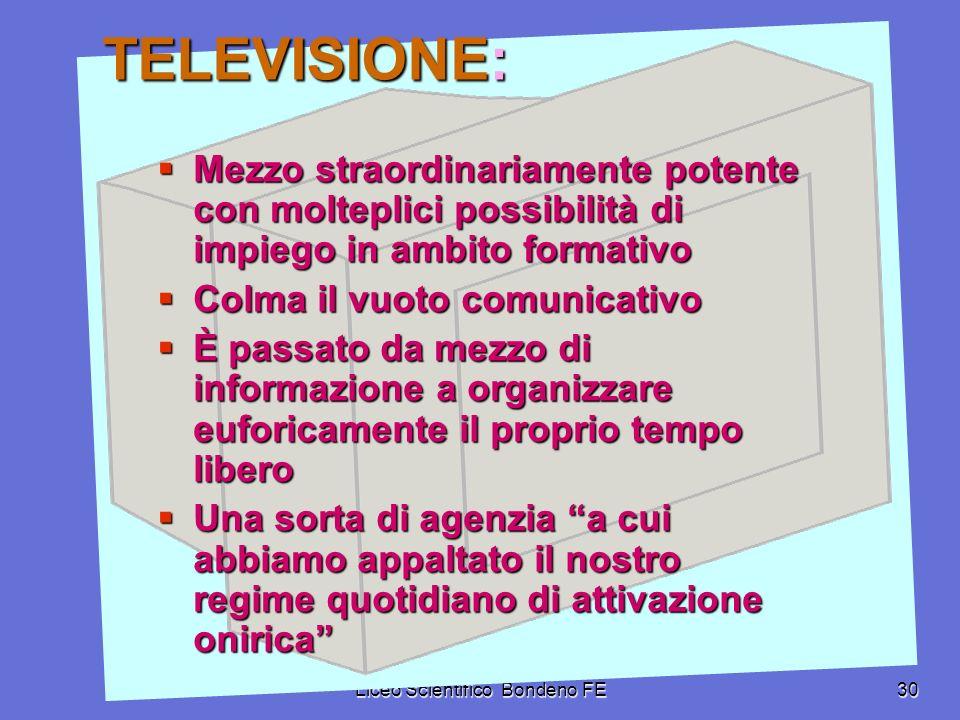 Liceo Scientifico Bondeno FE30 TELEVISIONE: Mezzo straordinariamente potente con molteplici possibilità di impiego in ambito formativo Mezzo straordin
