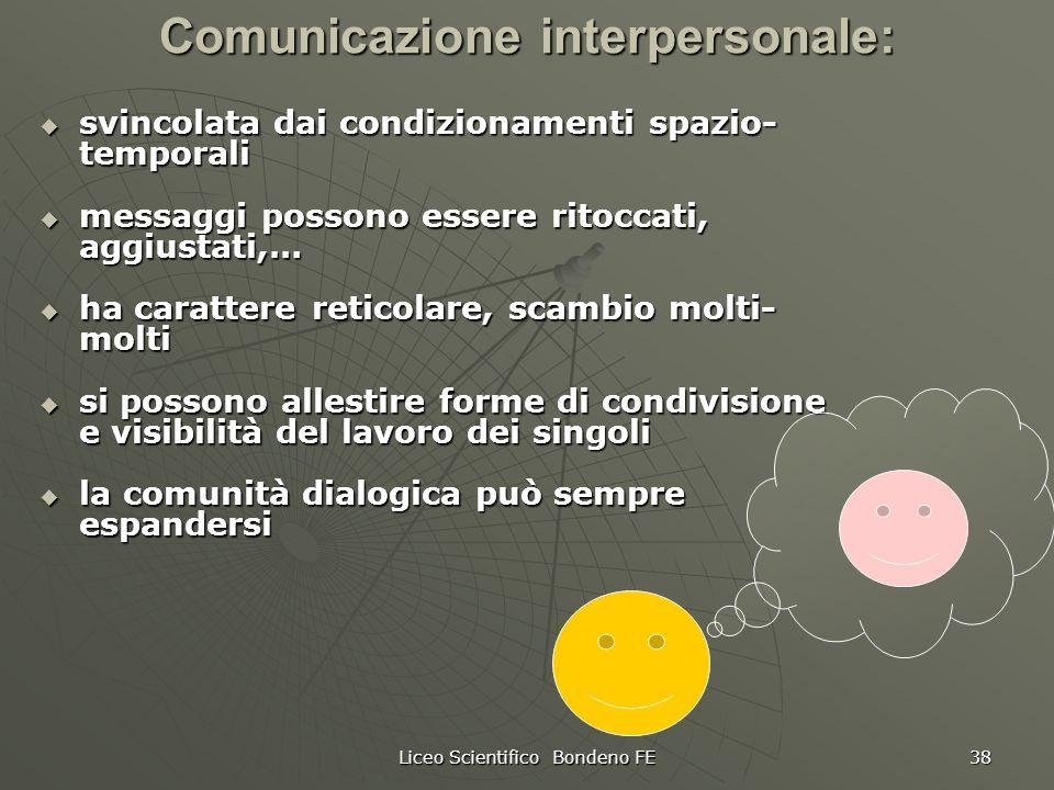Liceo Scientifico Bondeno FE 38 Comunicazione interpersonale: svincolata dai condizionamenti spazio- temporali svincolata dai condizionamenti spazio-