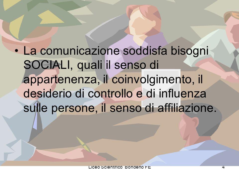 Liceo Scientifico Bondeno FE4 La comunicazione soddisfa bisogni SOCIALI, quali il senso di appartenenza, il coinvolgimento, il desiderio di controllo