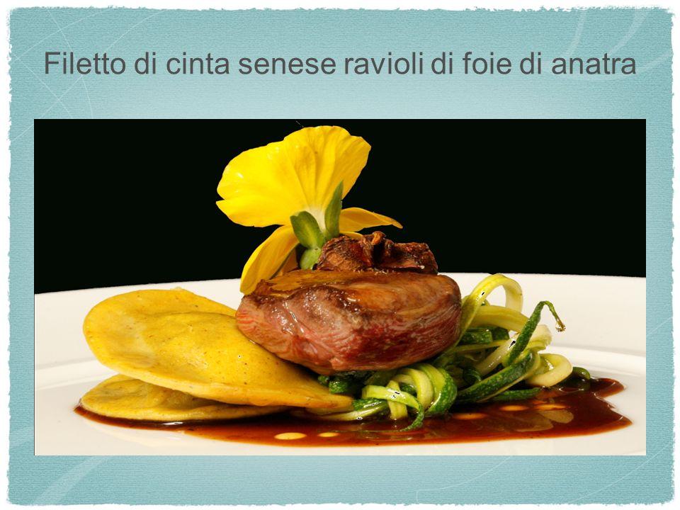 Filetto di cinta senese ravioli di foie di anatra