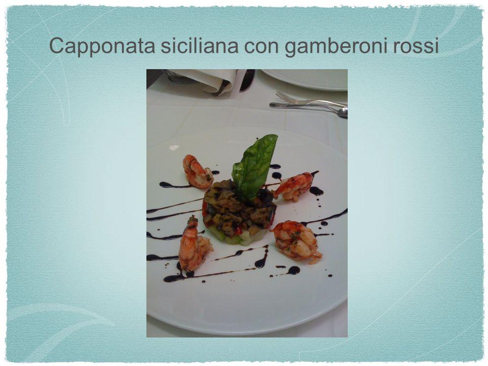 Capponata siciliana con gamberoni rossi