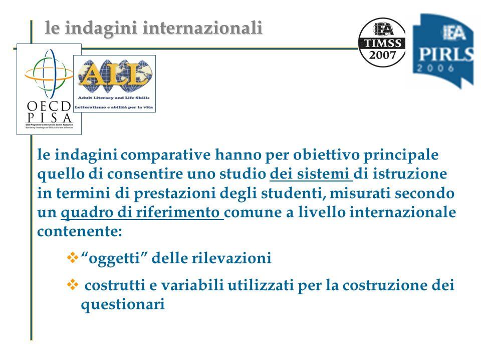 le indagini comparative hanno per obiettivo principale quello di consentire uno studio dei sistemi di istruzione in termini di prestazioni degli stude