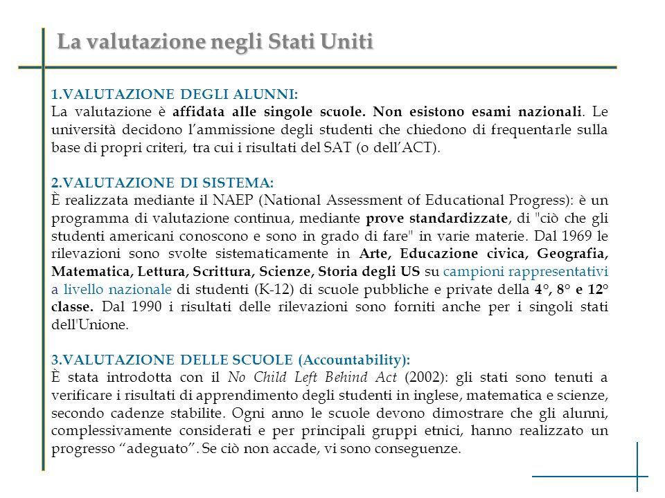La valutazione negli Stati Uniti 1.VALUTAZIONE DEGLI ALUNNI: La valutazione è affidata alle singole scuole. Non esistono esami nazionali. Le universit