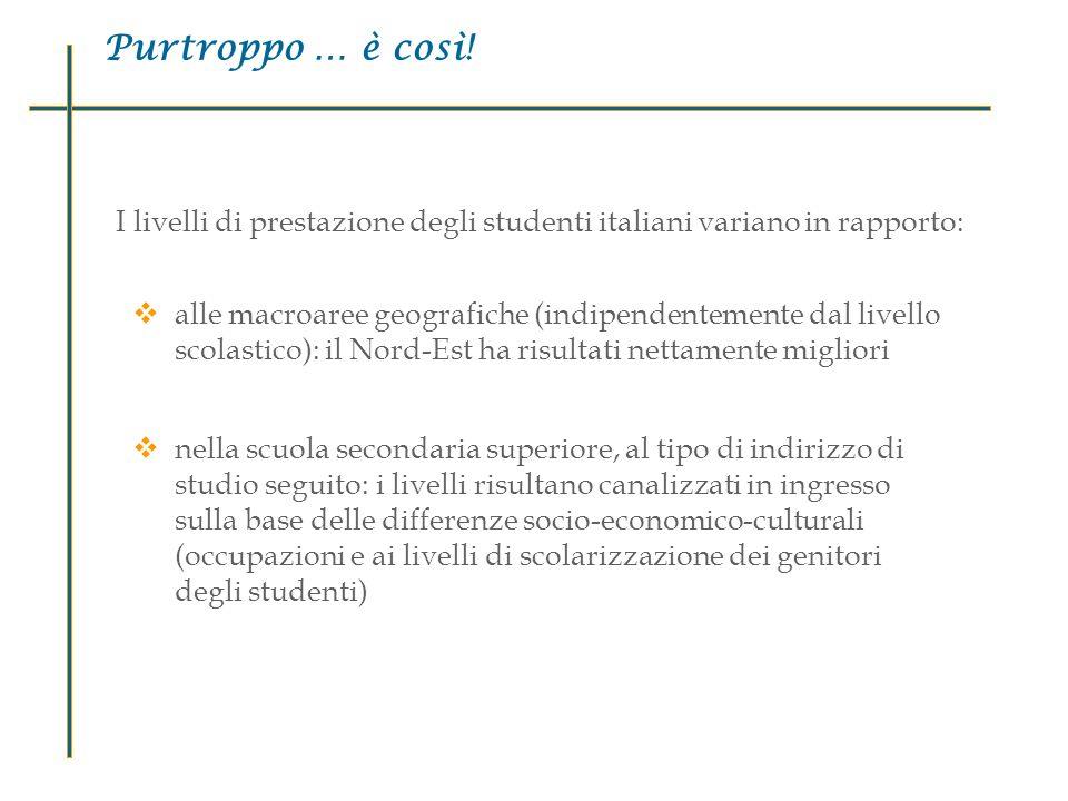 I livelli di prestazione degli studenti italiani variano in rapporto: alle macroaree geografiche (indipendentemente dal livello scolastico): il Nord-E