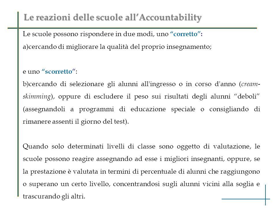 Le reazioni delle scuole allAccountability Le scuole possono rispondere in due modi, uno corretto: a)cercando di migliorare la qualità del proprio ins