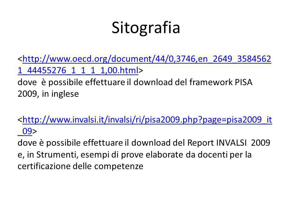 Sitografia dove è possibile effettuare il download del framework PISA 2009, in inglesehttp://www.oecd.org/document/44/0,3746,en_2649_3584562 1_4445527