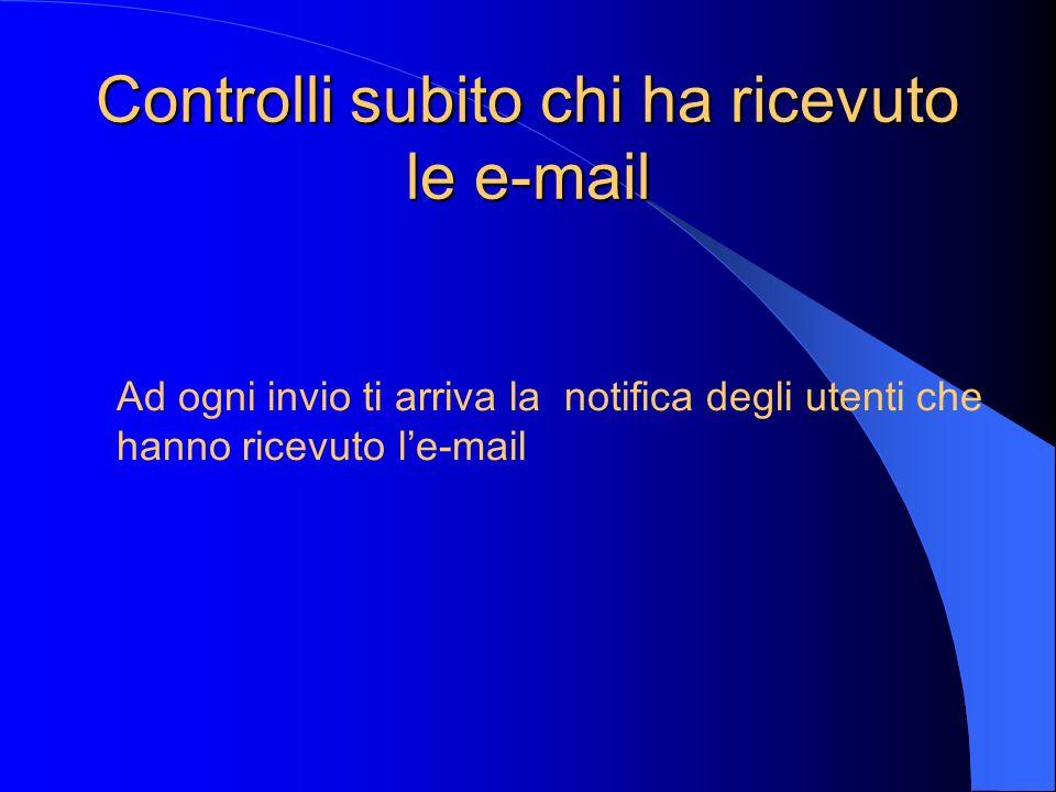 Controlli subito chi ha ricevuto le e-mail Ad ogni invio ti arriva la notifica degli utenti che hanno ricevuto le-mail