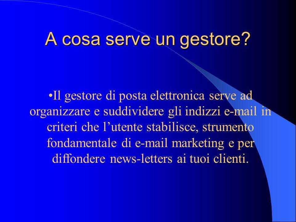 Il gestore di posta elettronica serve ad organizzare e suddividere gli indizzi e-mail in criteri che lutente stabilisce, strumento fondamentale di e-m