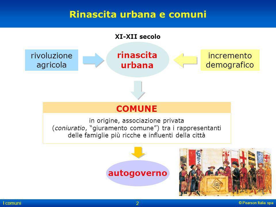 © Pearson Italia spa I comuni 2 Rinascita urbana e comuni XI-XII secolo rivoluzione agricola incremento demografico rinascita urbana autogoverno COMUN