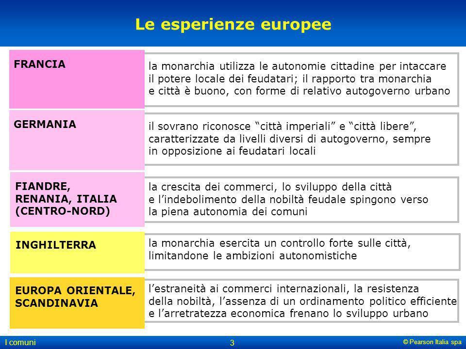 © Pearson Italia spa I comuni 3 lestraneità ai commerci internazionali, la resistenza della nobiltà, lassenza di un ordinamento politico efficiente e