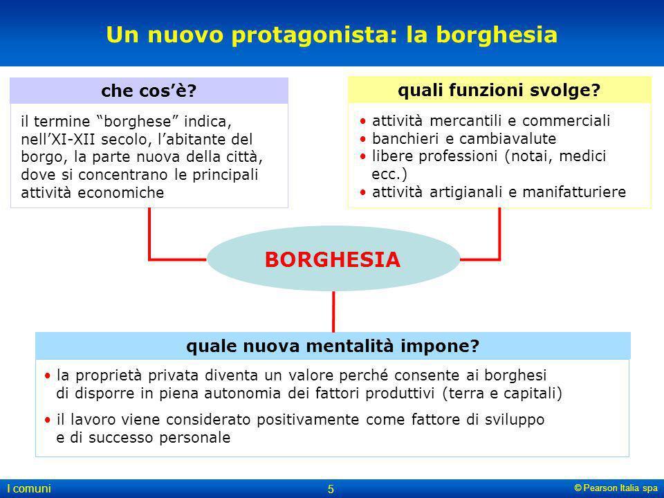 © Pearson Italia spa I comuni 5 Un nuovo protagonista: la borghesia il termine borghese indica, nellXI-XII secolo, labitante del borgo, la parte nuova