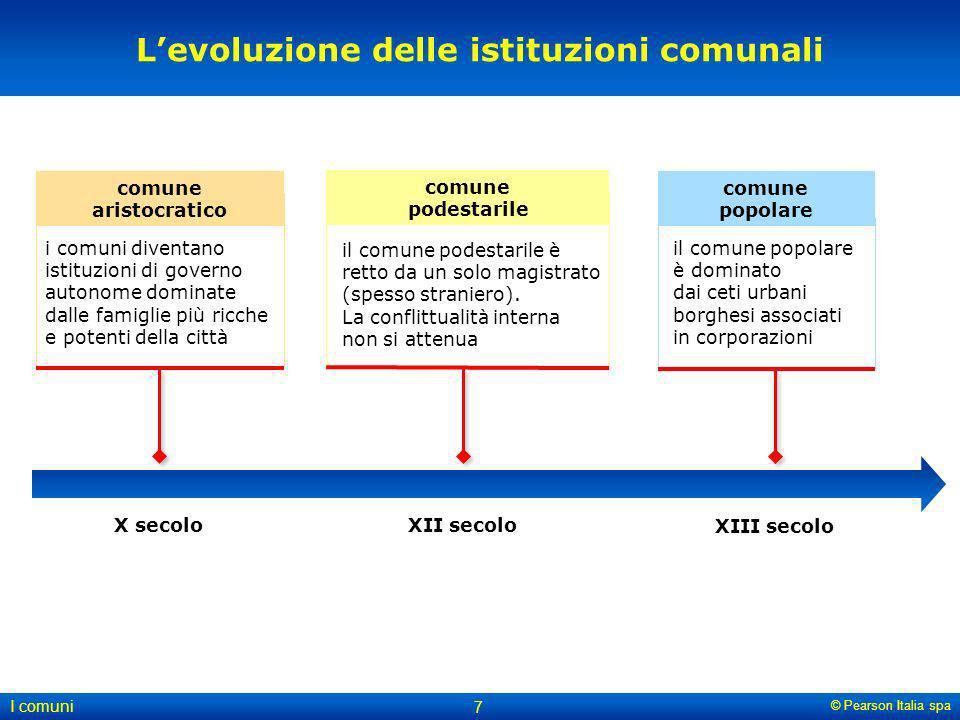 © Pearson Italia spa I comuni 7 Levoluzione delle istituzioni comunali X secoloXII secolo XIII secolo i comuni diventano istituzioni di governo autono