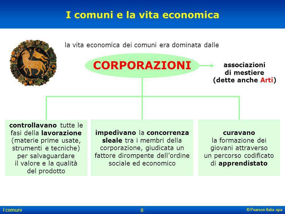 © Pearson Italia spa I comuni 8 I comuni e la vita economica controllavano tutte le fasi della lavorazione (materie prime usate, strumenti e tecniche)