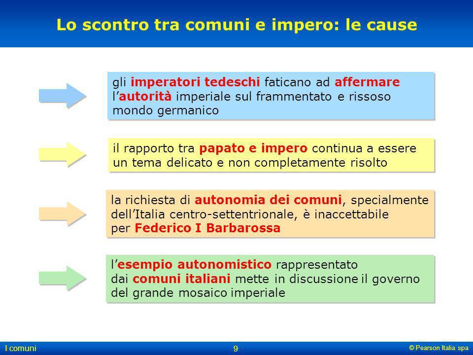 © Pearson Italia spa I comuni 9 Lo scontro tra comuni e impero: le cause gli imperatori tedeschi faticano ad affermare lautorità imperiale sul frammen