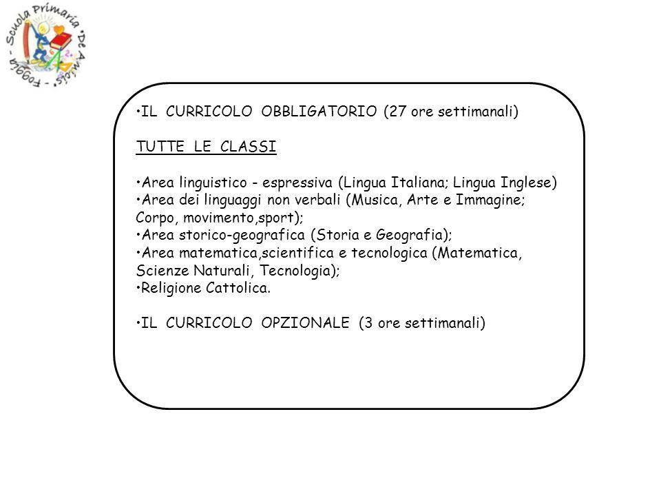 IL CURRICOLO OBBLIGATORIO (27 ore settimanali) TUTTE LE CLASSI Area linguistico - espressiva (Lingua Italiana; Lingua Inglese) Area dei linguaggi non