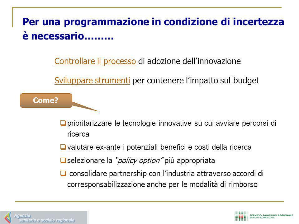 Per una programmazione in condizione di incertezza è necessario……… Controllare il processo di adozione dellinnovazione Sviluppare strumenti per conten