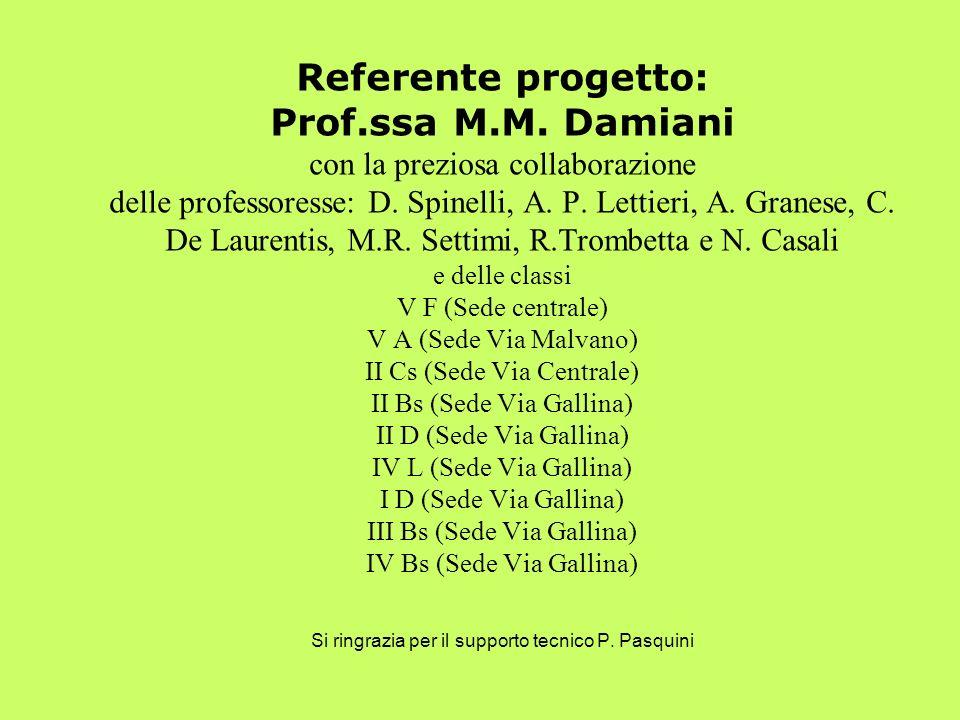 Referente progetto: Prof.ssa M.M. Damiani con la preziosa collaborazione delle professoresse: D. Spinelli, A. P. Lettieri, A. Granese, C. De Laurentis