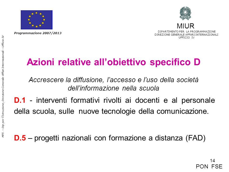 14 MPI. – Dip per lIstruzione, Direzione Generale Affari Internazionali – Ufficio IV Programmazione 2007/2013 Azioni relative allobiettivo specifico D
