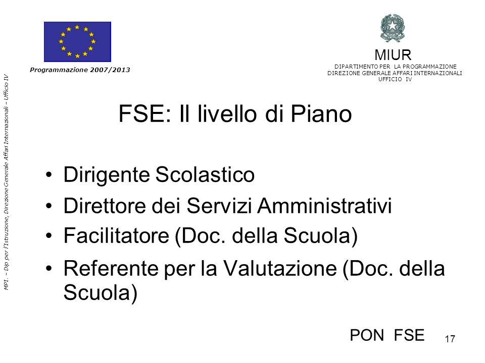 17 MPI. – Dip per lIstruzione, Direzione Generale Affari Internazionali – Ufficio IV Programmazione 2007/2013 FSE: Il livello di Piano Dirigente Scola