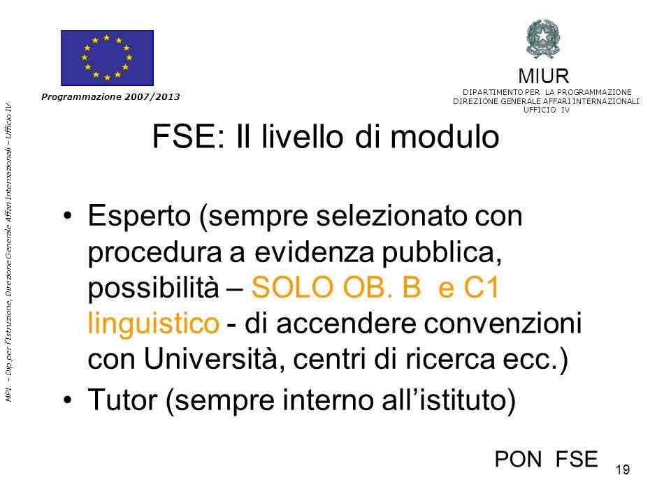 19 MPI. – Dip per lIstruzione, Direzione Generale Affari Internazionali – Ufficio IV Programmazione 2007/2013 FSE: Il livello di modulo Esperto (sempr