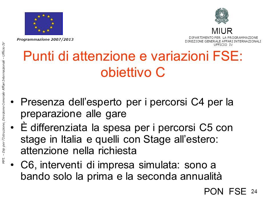 24 MPI. – Dip per lIstruzione, Direzione Generale Affari Internazionali – Ufficio IV Programmazione 2007/2013 Punti di attenzione e variazioni FSE: ob