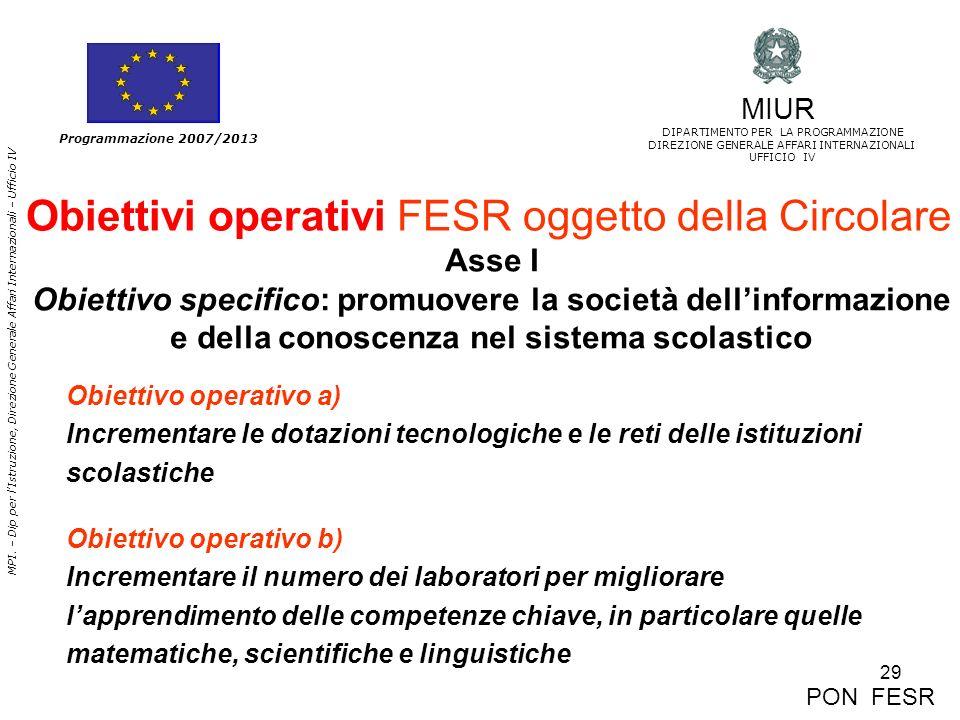 29 MPI. – Dip per lIstruzione, Direzione Generale Affari Internazionali – Ufficio IV Programmazione 2007/2013 Obiettivi operativi FESR oggetto della C