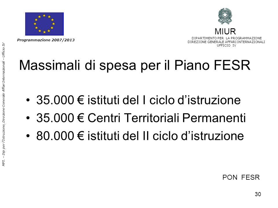 30 MPI. – Dip per lIstruzione, Direzione Generale Affari Internazionali – Ufficio IV Programmazione 2007/2013 PON FESR Massimali di spesa per il Piano