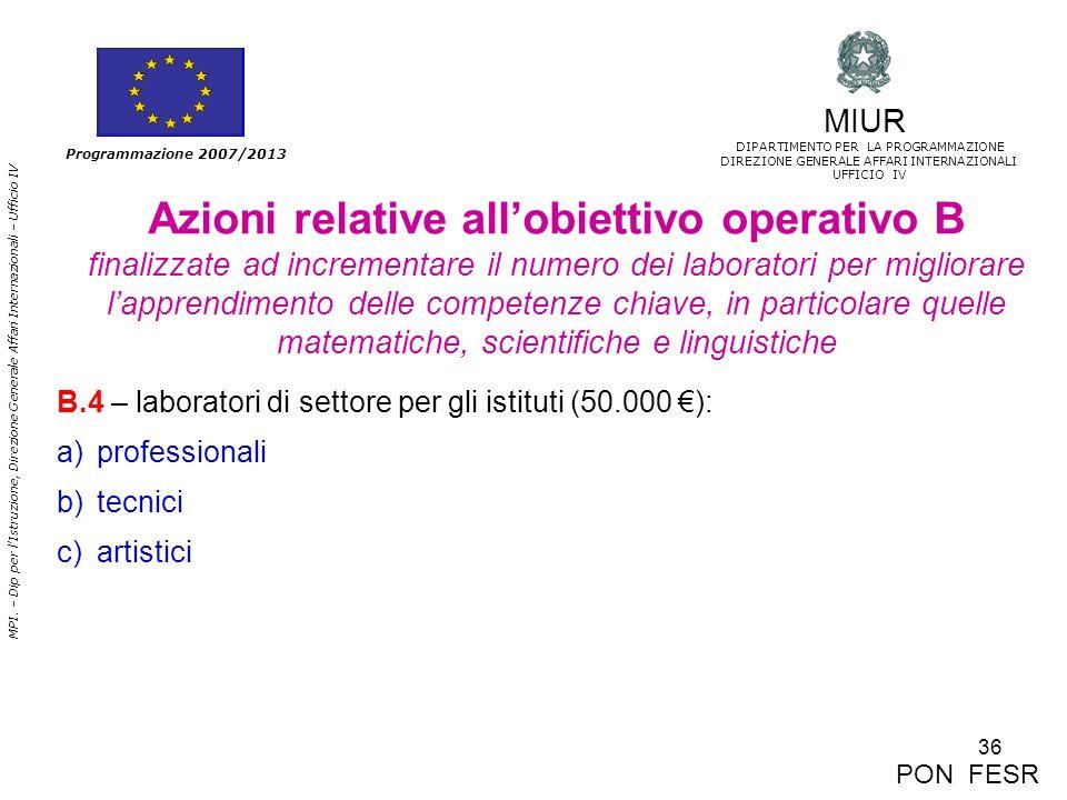 36 MPI. – Dip per lIstruzione, Direzione Generale Affari Internazionali – Ufficio IV Programmazione 2007/2013 Azioni relative allobiettivo operativo B