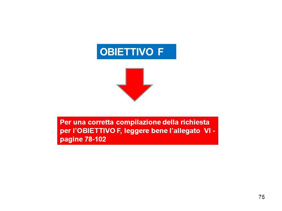 75 Per una corretta compilazione della richiesta per lOBIETTIVO F, leggere bene lallegato VI - pagine 78-102 OBIETTIVO F