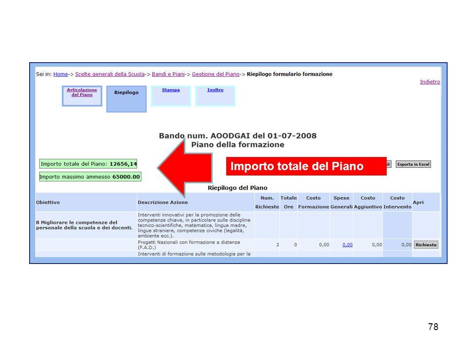 78 Importo totale del Piano