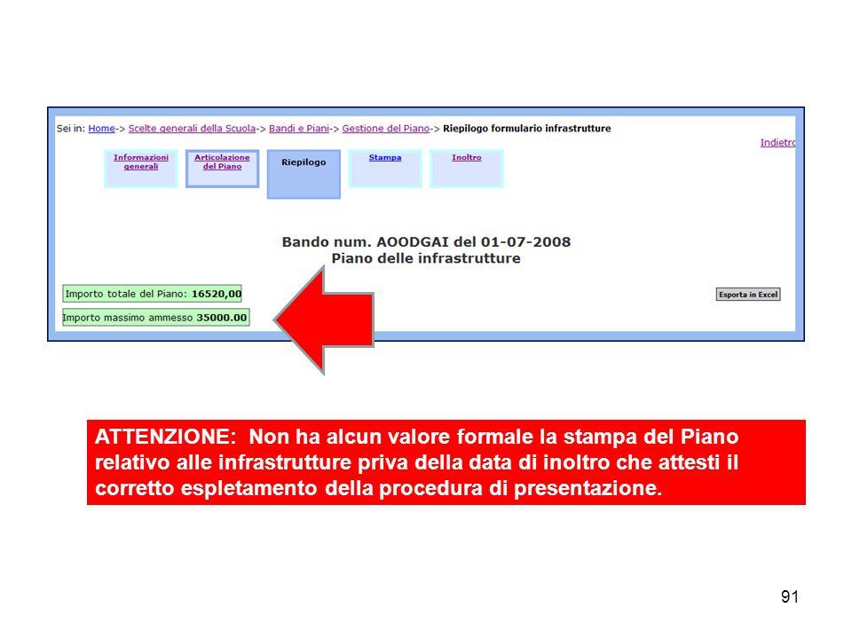 91 ATTENZIONE: Non ha alcun valore formale la stampa del Piano relativo alle infrastrutture priva della data di inoltro che attesti il corretto esplet