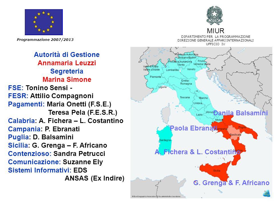95 Programmazione 2007/2013 Autorità di Gestione Annamaria Leuzzi Segreteria Marina Simone FSE: Tonino Sensi - FESR: Attilio Compagnoni Pagamenti: Mar