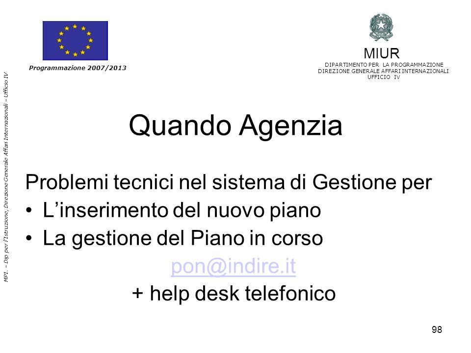 98 Quando Agenzia Problemi tecnici nel sistema di Gestione per Linserimento del nuovo piano La gestione del Piano in corso pon@indire.it + help desk t