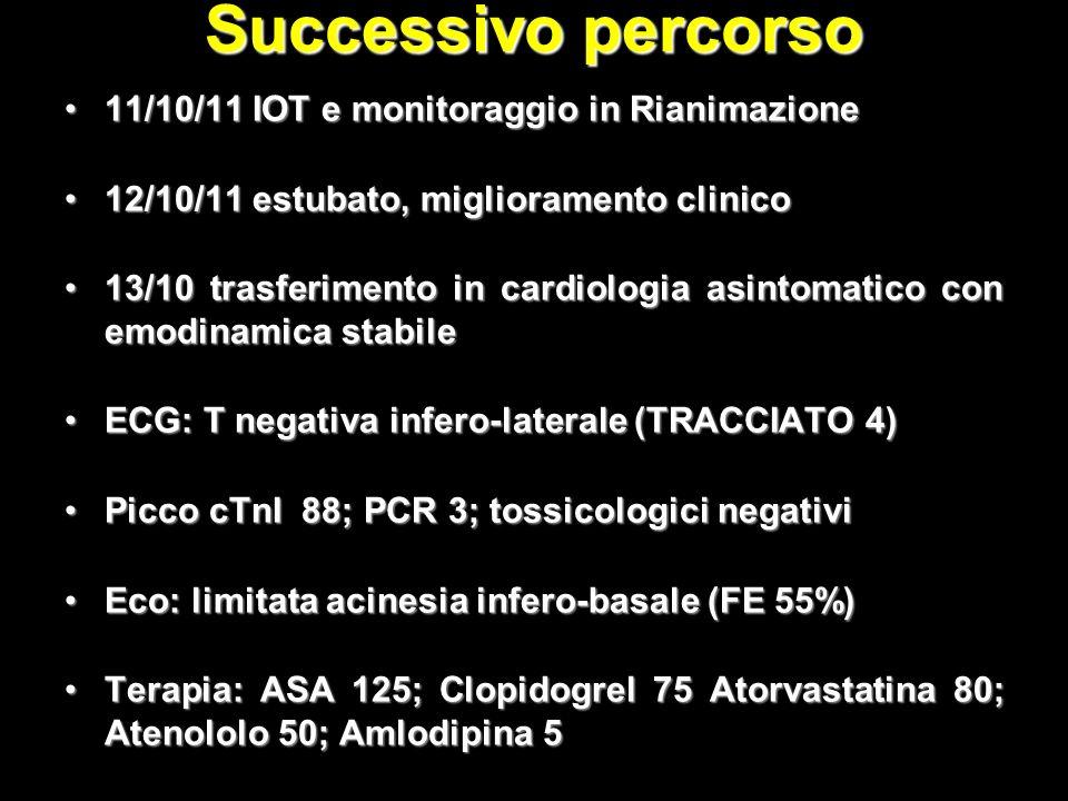 Successivo percorso 11/10/11 IOT e monitoraggio in Rianimazione11/10/11 IOT e monitoraggio in Rianimazione 12/10/11 estubato, miglioramento clinico12/10/11 estubato, miglioramento clinico 13/10 trasferimento in cardiologia asintomatico con emodinamica stabile13/10 trasferimento in cardiologia asintomatico con emodinamica stabile ECG: T negativa infero-laterale (TRACCIATO 4)ECG: T negativa infero-laterale (TRACCIATO 4) Picco cTnI 88; PCR 3; tossicologici negativiPicco cTnI 88; PCR 3; tossicologici negativi Eco: limitata acinesia infero-basale (FE 55%)Eco: limitata acinesia infero-basale (FE 55%) Terapia: ASA 125; Clopidogrel 75 Atorvastatina 80; Atenololo 50; Amlodipina 5Terapia: ASA 125; Clopidogrel 75 Atorvastatina 80; Atenololo 50; Amlodipina 5