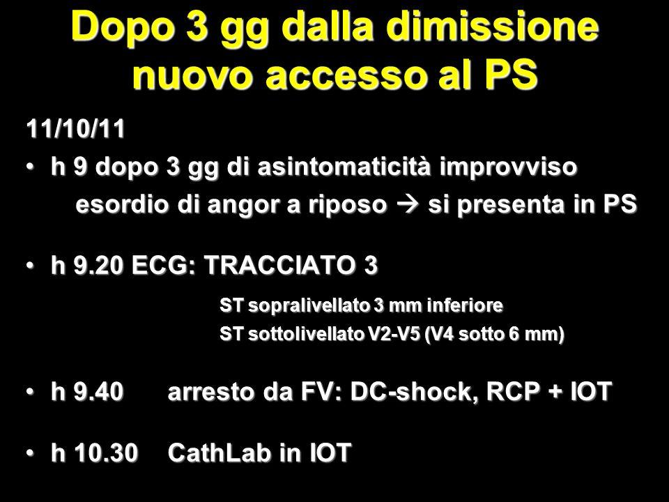 Dopo 3 gg dalla dimissione nuovo accesso al PS 11/10/11 h 9 dopo 3 gg di asintomaticità improvvisoh 9 dopo 3 gg di asintomaticità improvviso esordio di angor a riposo si presenta in PS esordio di angor a riposo si presenta in PS h 9.20 ECG: TRACCIATO 3h 9.20 ECG: TRACCIATO 3 ST sopralivellato 3 mm inferiore ST sopralivellato 3 mm inferiore ST sottolivellato V2-V5 (V4 sotto 6 mm) ST sottolivellato V2-V5 (V4 sotto 6 mm) h 9.40 arresto da FV: DC-shock, RCP + IOTh 9.40 arresto da FV: DC-shock, RCP + IOT h 10.30 CathLab in IOTh 10.30 CathLab in IOT