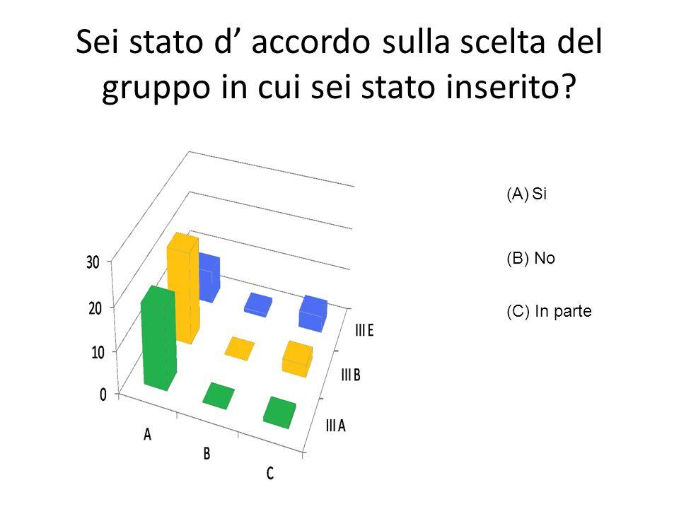 Sei stato d accordo sulla scelta del gruppo in cui sei stato inserito? (A)Si (B) No (C) In parte