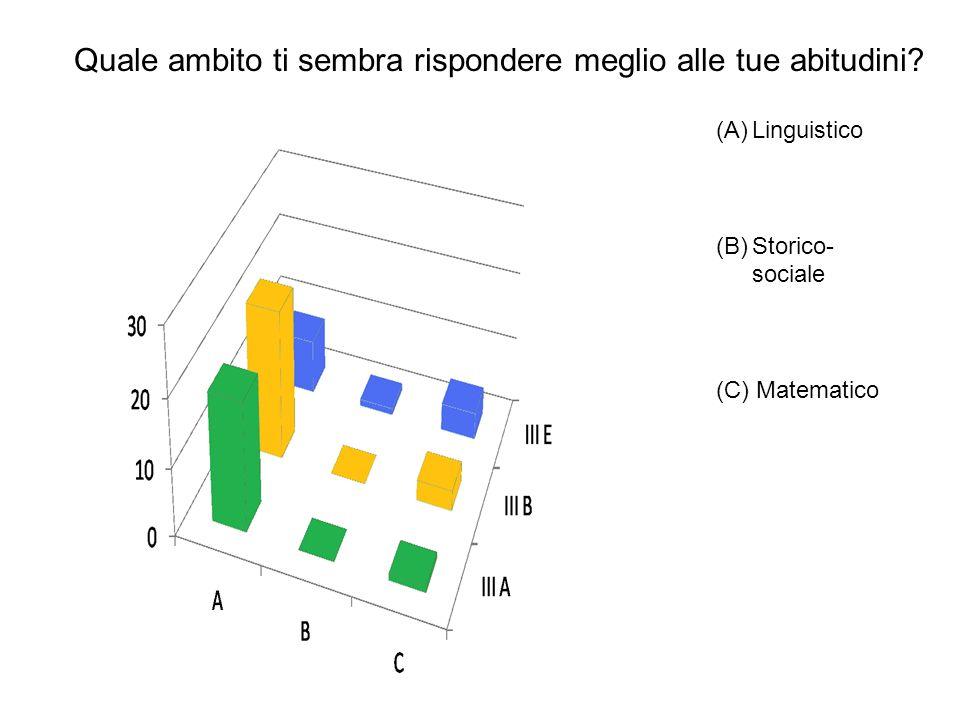 Quale ambito ti sembra rispondere meglio alle tue abitudini? (A)Linguistico (B)Storico- sociale (C) Matematico