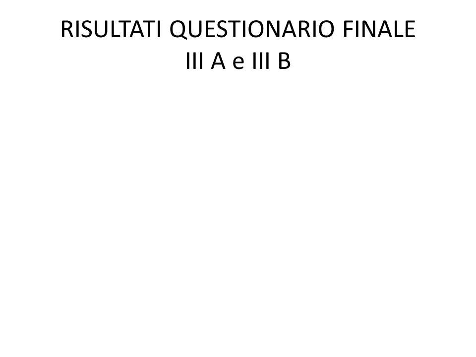 RISULTATI QUESTIONARIO FINALE III A e III B
