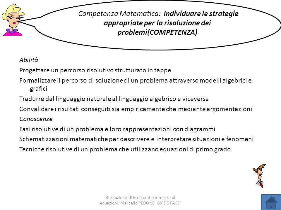 Abilità Progettare un percorso risolutivo strutturato in tappe Formalizzare il percorso di soluzione di un problema attraverso modelli algebrici e gra